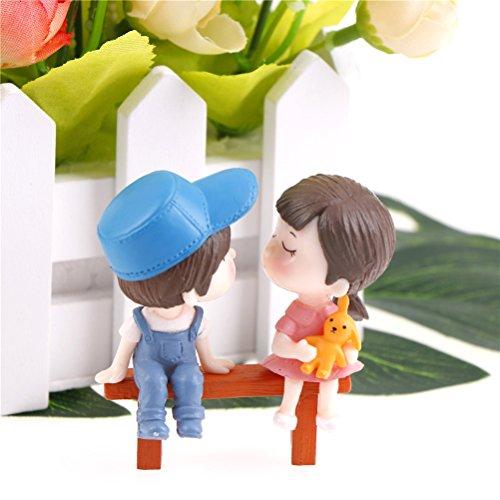 IYSHOUGONG 1 Set Miniature Fairy Garden Stool and Couple Doll House Figurine Statue for DIY Fairy Garden Dollhouse Decor