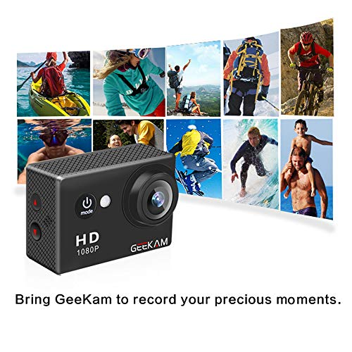 GeeKam Kids Action Camera 1080P Waterproof Sports Camera Kids Toy for Boy Girls Holiday Birthday Gift with 2.0 inch LCD Screen and Mounting Accessories Kit(Black) by GeeKam (Image #5)