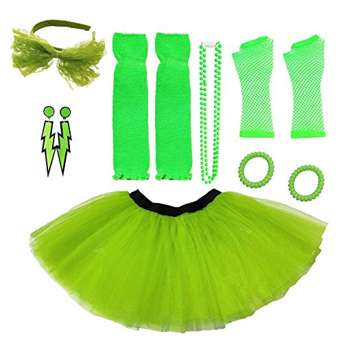 Dreamdanceworks 80s Fancy Costume Set Accessories Plus Size Neon Tutus for Women(Green with