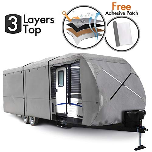 XGEAR Travel Trailer RV Cover Water-Repellent Fabric with Thick 3-ply Top Windproof Buckles & Adhesive Repair Patch ¡ (35'-38') (Travel Trailer Foot Covers Rv 35)