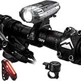 Bike Light, Icefox USB Rechargeable Bicycle Lights Super Bright White LED Bike Accessories with Water Resistant Front and Back Light Easy to Install for Adults Safe Road Cycling(with a bell)