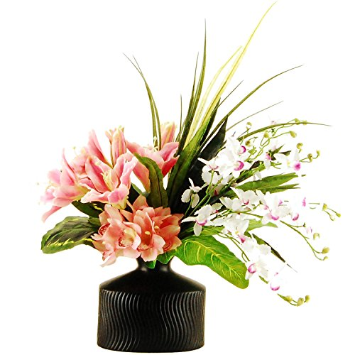 LCG Florals 16F14 Tropical Garden with Lily's, Butterfly Orchids, Cymbidium Orchids, Greenery & Grasses In An Embossed Ceramic Vase, 29