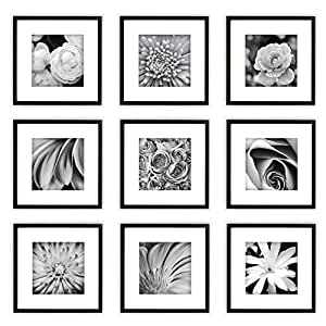 Gallery Perfect 9 Piece Black Square Photo Frame Wall Gallery Kit. Includes: Frames, Hanging Wall Template, Decorative Art Prints and Hanging Hardware