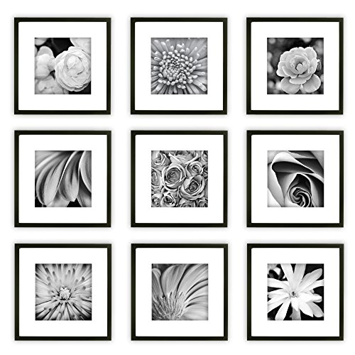 Gallery Perfect 9 Piece Black Square Photo Frame Gallery Wall Kit with Decorative Art Prints & Hanging - Black White Pictures Wall And