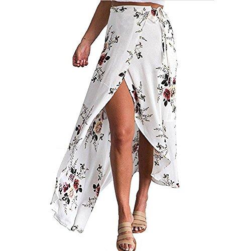 Shusuen Womens Boho Floral Tie Up Waist Summer Beach Wrap Cover Up Maxi Skirt White -