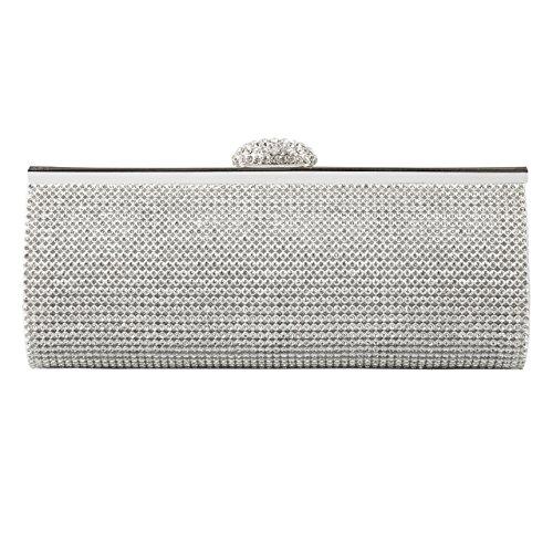ECOSUSI Elegant Rhinestones Clasp Flap Clutch Evening Handbag Purse Silver