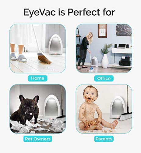 EyeVac Home – Touchless Stationary Vacuum, Dual High Efficiency Filtration, Corded, Bagless, Automatic Sensors, 1000 Watt – White 51b 2B oSJafL