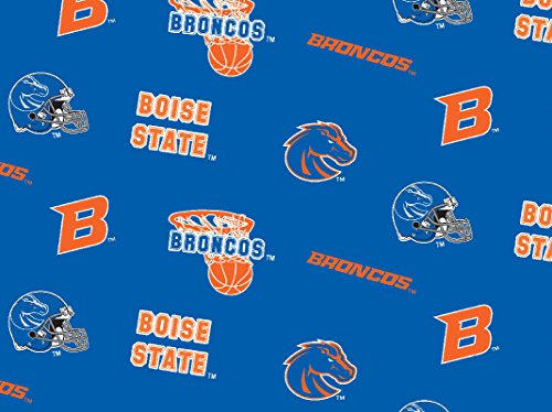 NCAA Licensed Boise State Broncos Blue All Over Fleece Fabric 60''Width Sold By The Yard