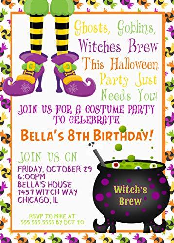 Kids Halloween Birthday Party Invitations, Halloween Birthday Costume Party Invitation With Envelopes ()