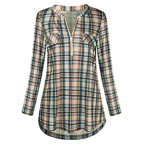 (Wintialy Womens Casual Rolled Sleeve Zipped V-Neck Plaid Printed Shirt Tunic Tops Blouse Yellow)