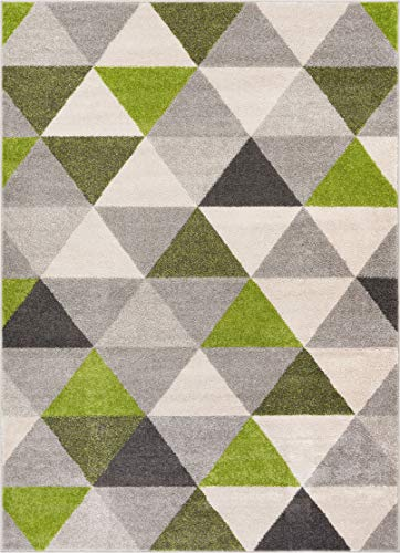 Well Woven Isometry Green & Grey Modern Geometric Triangle Pattern Area Rug Soft Shed Free 8 x 11 (7