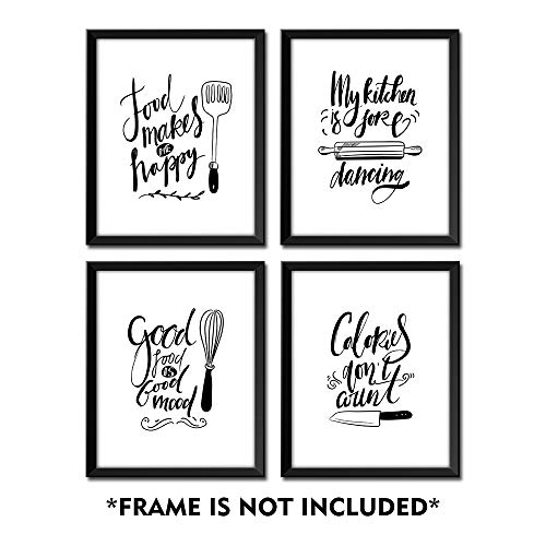 SUMGAR Black and White Wall Art Prints Kitchen Funny Quotes and Sayings Pictures 8x10 Posters Unframed Photos Artwork Set of 4