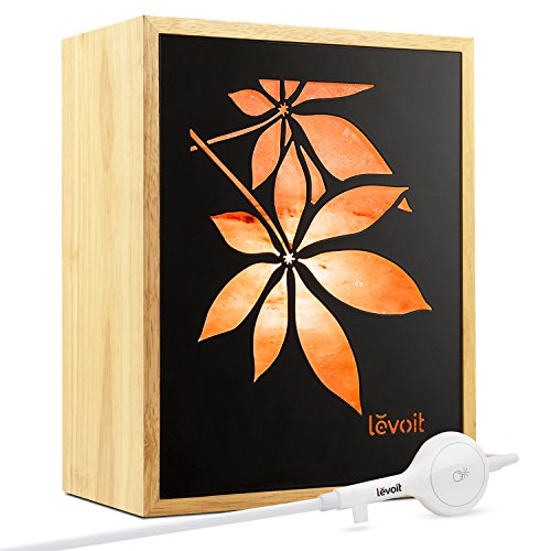 LEVOIT Fauna Himalayan Salt Lamp(11 lbs), Natural Hymalain Salt Lamps Genuine Rubber Wood Frame with Two Himilian Salt Blocks, Original Maple Leaf Design with Touch Dimmer Switch, 3 Bulbs & Gift Box by LEVOIT