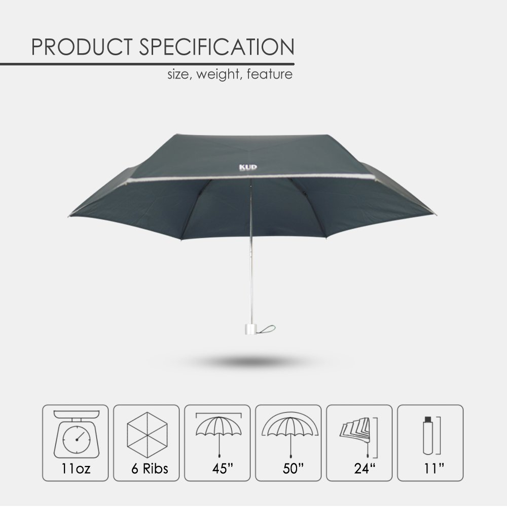 KUD Lightweight Compact travel umbrella with 50 inch Arc large coverage (Red) by Keep You Dry (Image #6)