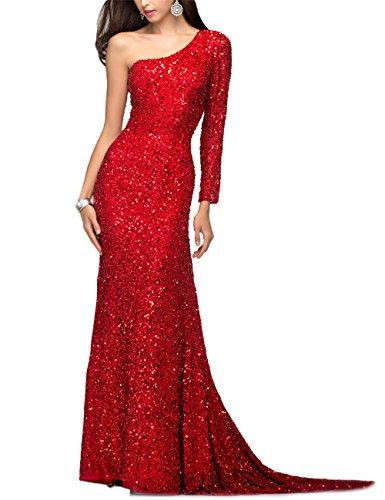 YMSHA Women's one-Shoulder Sparking Evening Celebrity Dresses Formal Prom Gowns Red 2
