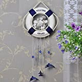 Home Welcome Aboard Nautical Life Ring Windchime 15-Inch W3111 (White-Blue) Review