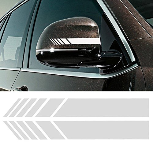 YOUNGFLY 2pcs Car Rear View Mirror Stickers Decor DIY Car Body Sticker Side Decal Stripe Decals SUV Vinyl Graphic Sliver