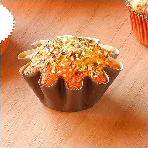 Brioche Floret Paper Baking Cups - Medium Size - Brown - 50 Pcs - 1 7/8 Base x 3 9/16 Top x 1 3/8 High