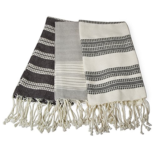 Set of 3 Fringed Kitchen Hand Towels - Striped - Cotton - Great Quality - Gift Idea (Dishes Pottery Barn)