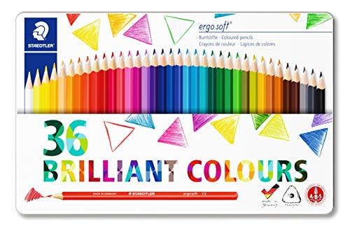 STAEDTLER 157 M36 Ergosoft Triangular Colouring Pencil, Assorted Colours, Tin of 36 by Staedtler (Image #4)