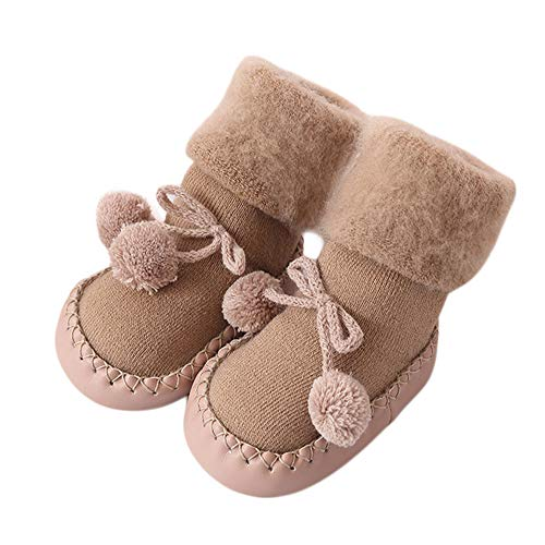 Soft Floor Socks for Kids, Toddler Infant Baby Non-Skid Rattle Socks Set 3 Pack Foot Rattles Boots Socks (Khaki,6-12 months)
