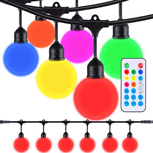 Areful Globe String Lights, 12FT RV Awning Lighting Strand with LED G40 Bulbs, Connectable, Remote Control, RGB Color Changing Mood Lamp for Outdoor Events