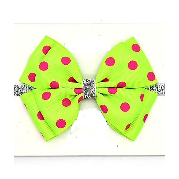 Bow Dot Printed Hair Band for Infant Baby Elastic Headband Photography Prop Green