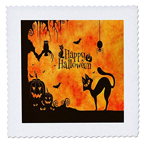 3dRose Sandy Mertens Halloween Designs - Cat, Owl, Bats, Spider, Jack o Lanterns Silhouettes, 3drsmm - 8x8 inch Quilt Square (qs_290231_3) ()