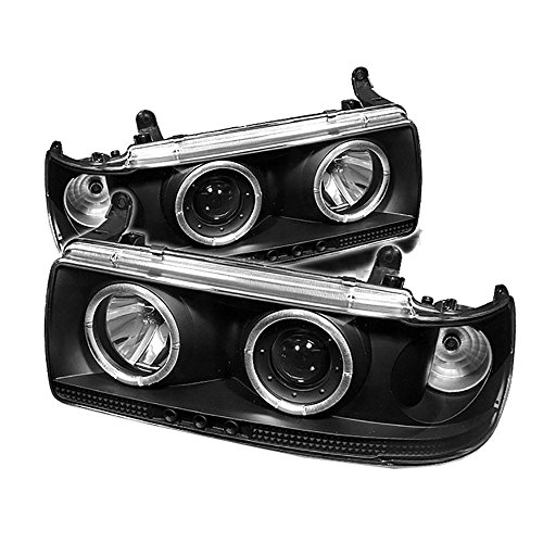 [For 1991-1997 Toyota Land Cruiser] LED Halo Ring Black Projector Headlight Headlamp Assembly, Driver & Passenger Side