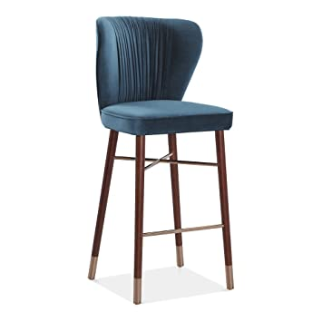 Cult Living Noa Luxury Bar Stool With Backrest Velvet Upholstered