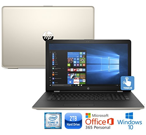 """HP 17-bs Laptop Core i3-7100, 8GB, 2TB HDD, 17.3"""" HD+ WLED Touch Screen, Backlit Keyboard Microsoft Office 365 1-Yr. (Certified Refurbished) (Silk Gold) (Packard Refurbished Parts Hewlett)"""