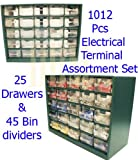 1012 PCS Electrical Terminal Assortment Cabinet Store House Crimp Connector Set