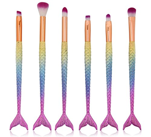 6 Pcs Mermaid Makeup Brush Set Eye Shadow Liner Brow Conceal