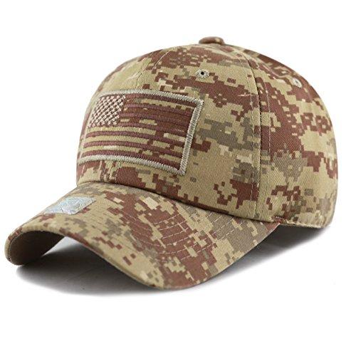 Digital Desert Camo (THE HAT DEPOT Low Profile Tactical Operator USA Flag Buckle Cotton Cap (Desert Digital Camo))