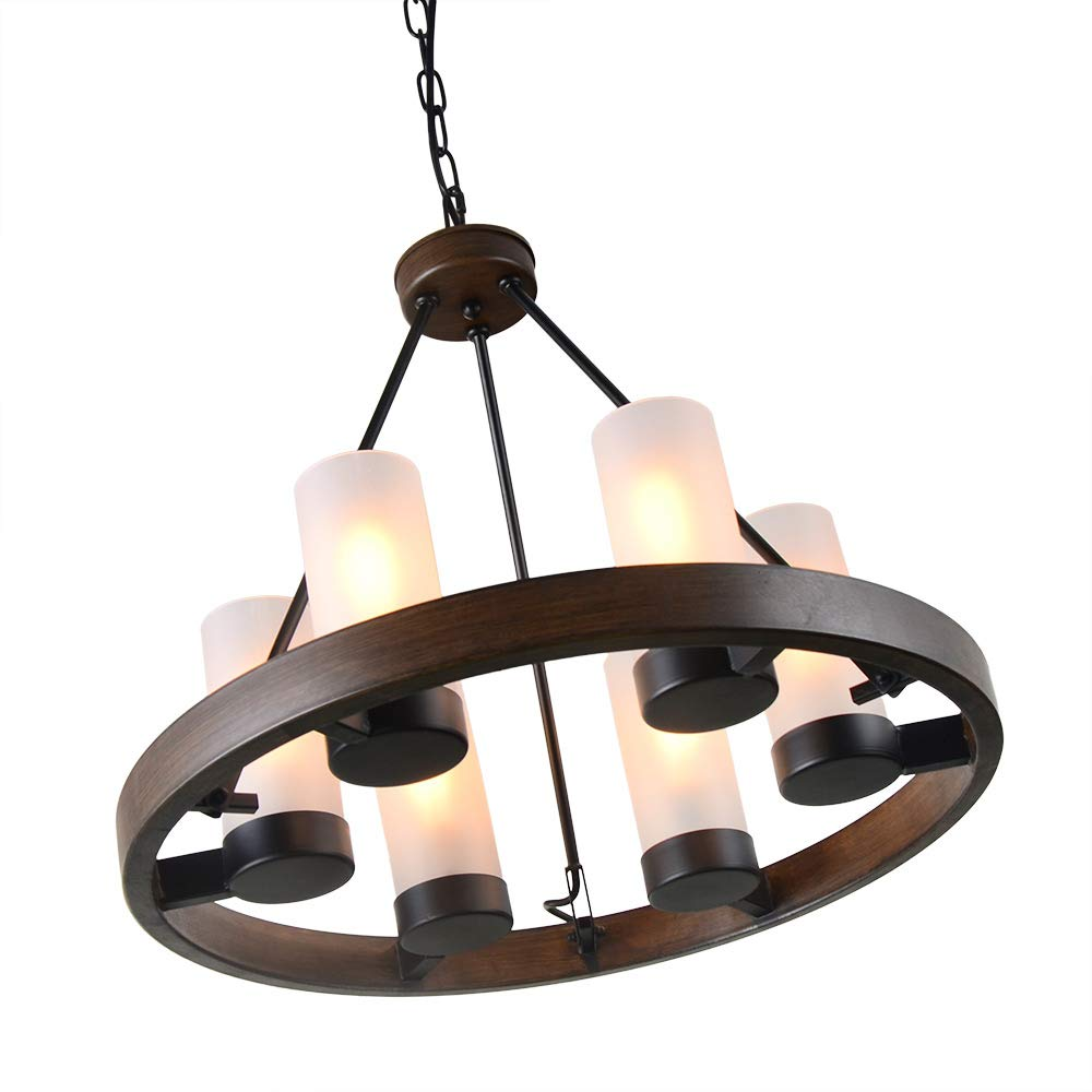 Eumyviv Circular Metal Chandelier Light with Frosted Glass Shade, Rustic French Country Chandelier Metal Pendant Lamp Industrial Edison Hanging Light 6 Lights, Brown C0058