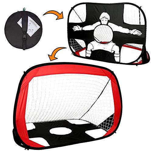 Clevr 2-in-1 Pop Up Goal Net w/case Football Soccer Hockey Sports Foldable Portable Goal net for ()