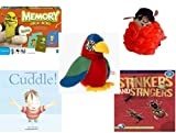 Children's Gift Bundle - Ages 3-5 [5 Piece] - Shrek Forever After Memory Game - The Wiggles Captain Feathersword Net Bath Sponge - Ty Beanie Baby - Jabber The Parrot - Cuddle. Hardcover Book - Stink
