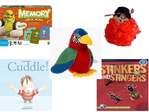 Children's Gift Bundle - Ages 3-5 [5 Piece] - Shrek Forever After Memory Game - The Wiggles Captain Feathersword Net Bath Sponge - Ty Beanie Baby - Jabber The Parrot -