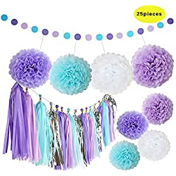 Set of 25pcs Purple Lavender White Baby Blue Tissue Paper Tassels party Garland Bunting Pom Pom Rustic Wedding Baby
