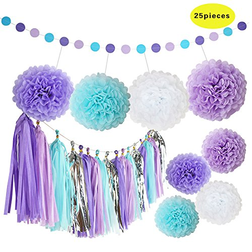 Set of 25pcs Purple Lavender White Baby Blue Tissue Paper Tassels party Garland Bunting Pom Pom Rustic Wedding - Blue Tiffany And Silver