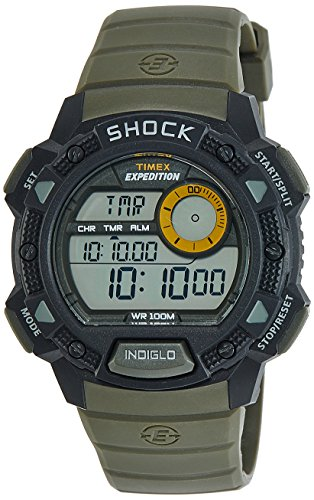 Timex Men's T49975 Expedition Base Shock Black/Green Resin (Resin Expedition Watch)