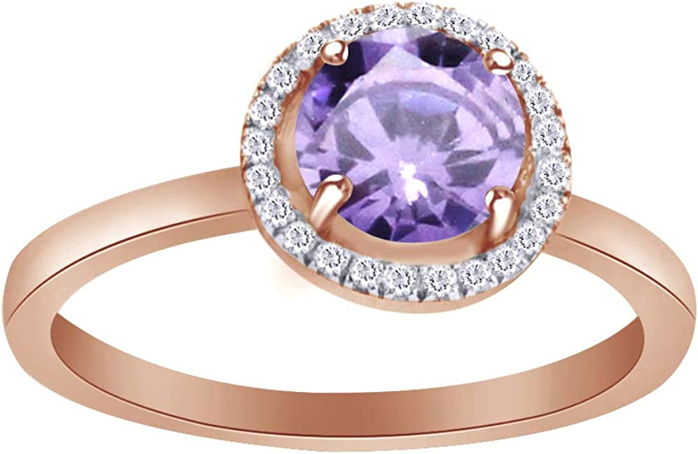 Wishrocks Round Cut Simulated Blue Sapphire Cluster Ring in 14K Rose Gold Over Sterling Silver