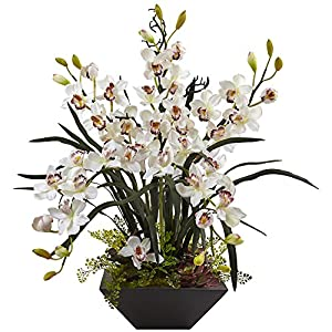 Nearly Natural 1404-WH Cymbidium Orchid Silk Arrangement with Black Vase 18