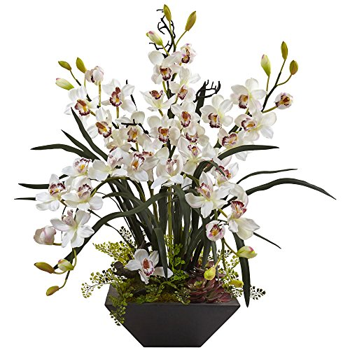 Nearly Natural 1404-WH Cymbidium Orchid Silk Arrangement with Black Vase (Orchids Green Silk Cymbidium)