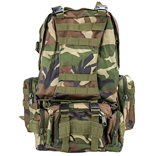 Basecamp Military Assault Tactical Backpack – 50L Outdoor Molle Tactical Rucksack Backpack for Camping Hiking Mountain Trekking Bag Combined with 3 MOLLE Bags Pack Combat Rucksack Daypacks (ACU Green) For Sale