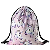 3D Digital Printing Unicorn Cute Oxford Beam Port Backpack Drawstring Bag for Girls-Pink