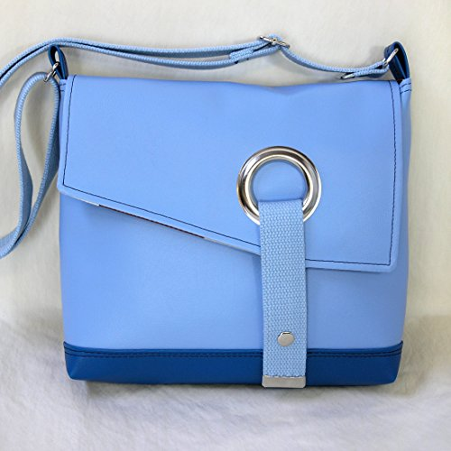 Stella Crossbody Messenger Bag, Faux Leather Messenger in Sky Blue by Zaum