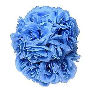 "SODIAL(R) 8""(20cm)Wedding Decorations Artificial Rose Silk Flower Ball Centerpieces Mint Decorative Hanging Flower Ball Wine(light blue ) 17"