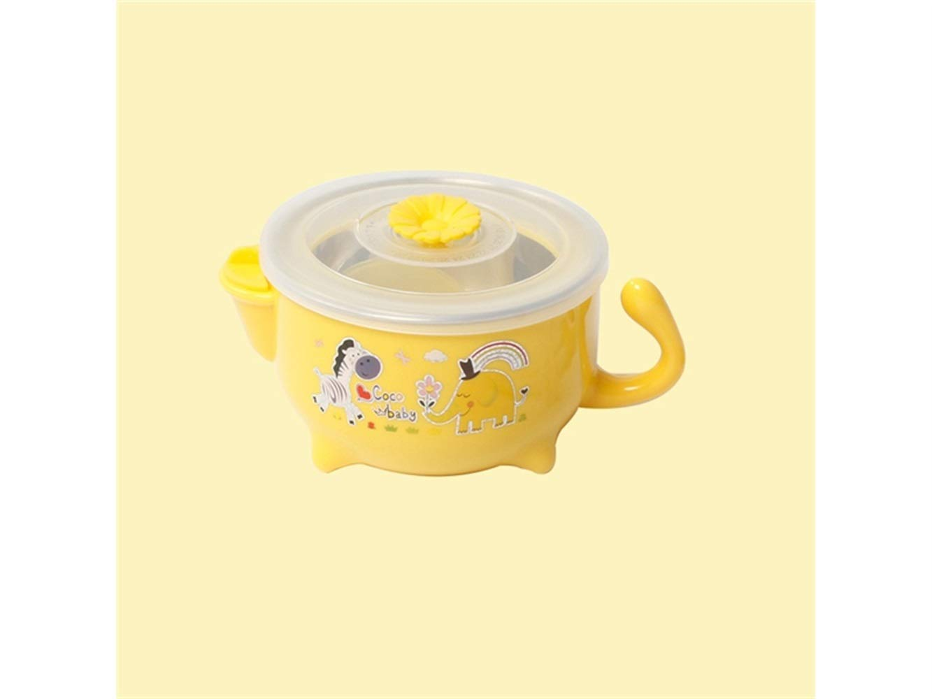 Yuchoi Contemporary Animal Pattern Baby Feeding Bowl Water Injection Bowl Anti-Scald Stainless Steel Children Dish Insulation Bowl for Kids Students(Yellow)