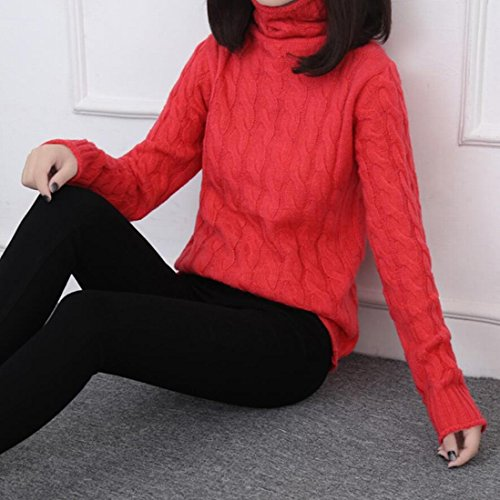 amp;S Red Knit Women's Ribbed Pullover Turtle amp;W Neck Warm M Sweater UwqRxd1U